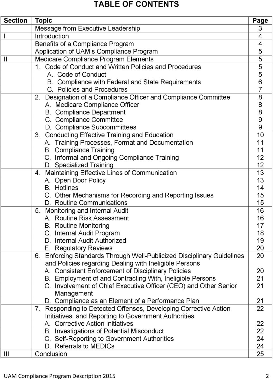 Designation of a Compliance Officer and Compliance Committee 8 A. Medicare Compliance Officer 8 B. Compliance Department 8 C. Compliance Committee 9 D. Compliance Subcommittees 9 3.