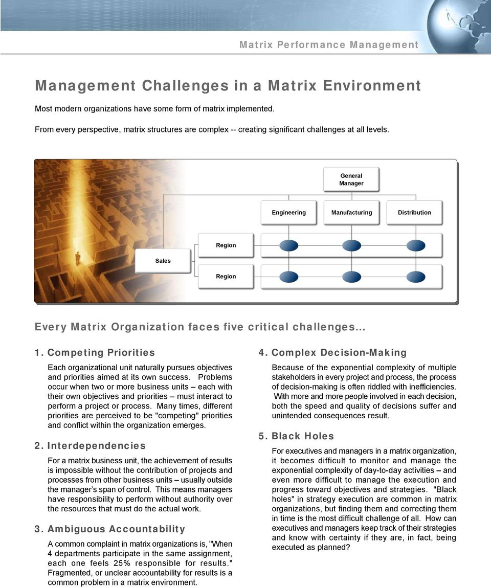 General Manager Engineering Manufacturing Distribution Sales Region Region Every Matrix Organization faces five critical challenges... 1.