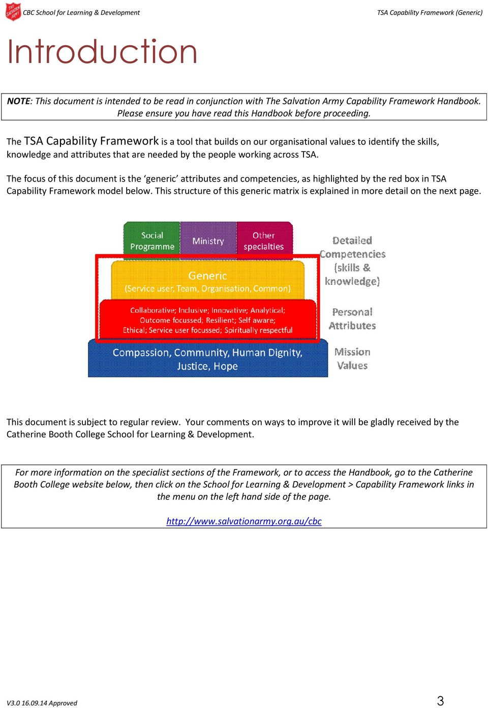 The focus of this document is the generic attributes and competencies, as highlighted by the red box in TSA Capability Framework model below.