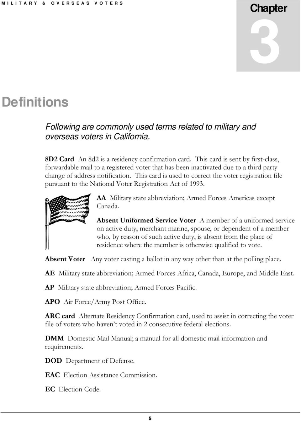 This card is used to correct the voter registration file pursuant to the National Voter Registration Act of 1993. AA Military state abbreviation; Armed Forces Americas except Canada.