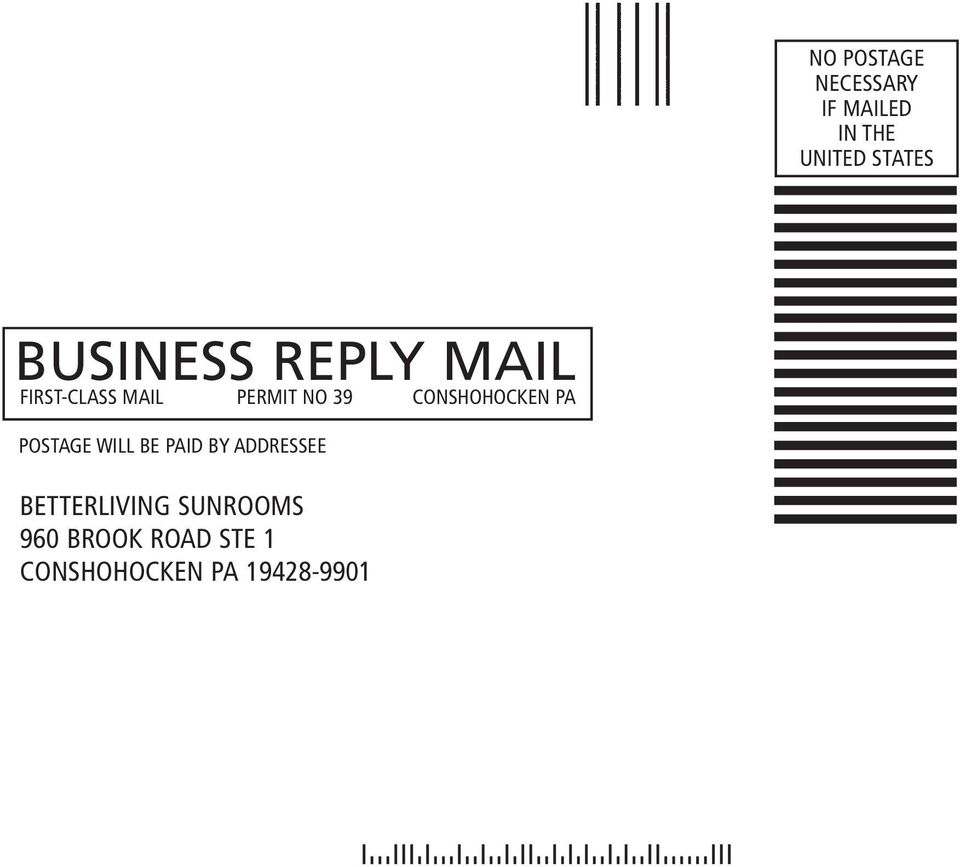 CONSHOHOCKEN PA POSTAGE WILL BE PAID BY ADDRESSEE