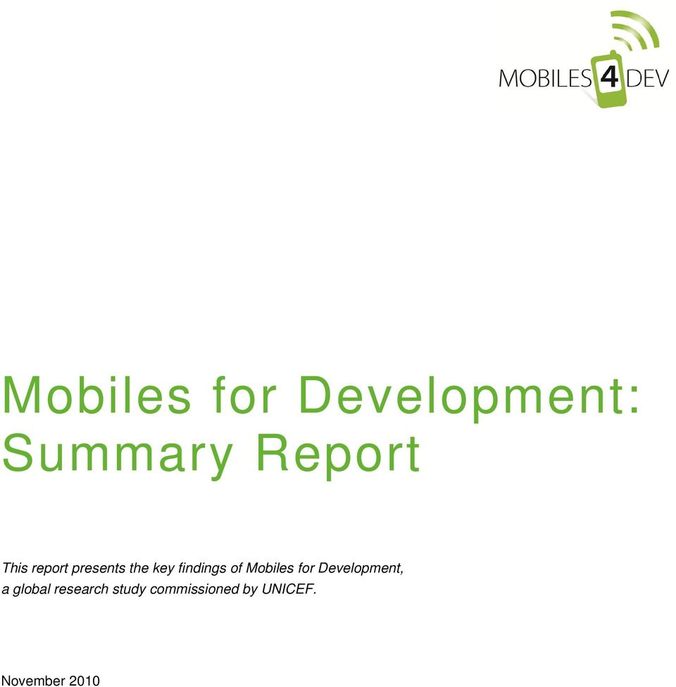 Mobiles for Development, a global