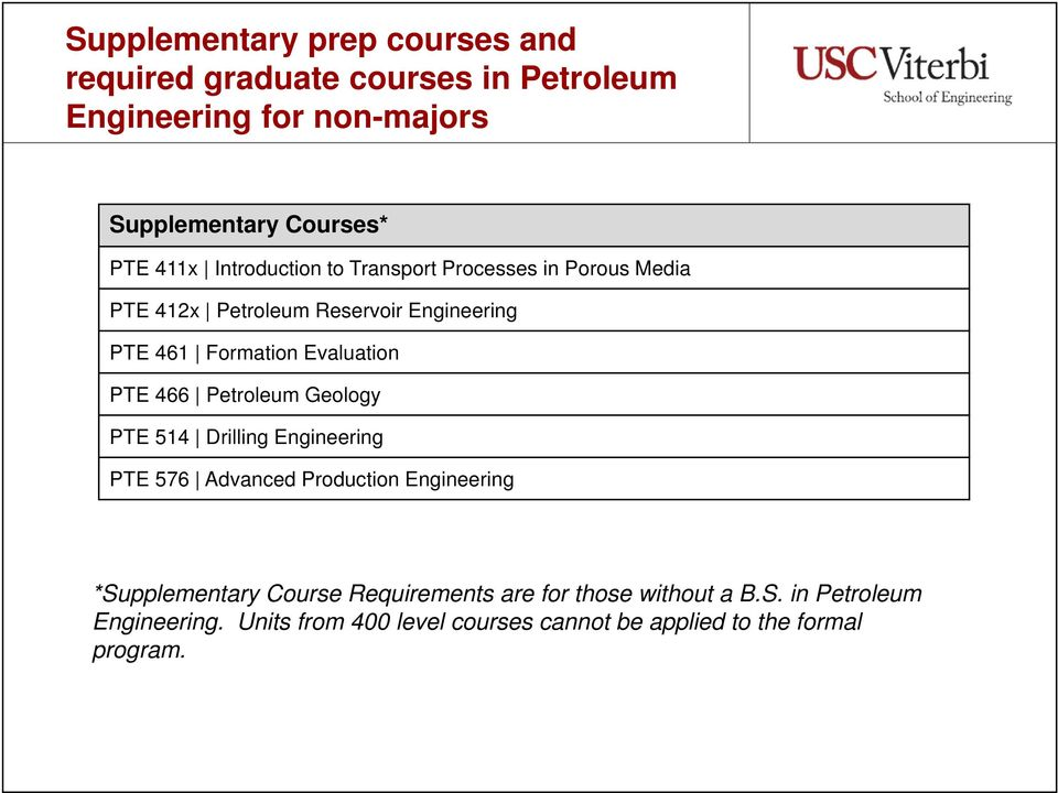 PTE 466 Petroleum Geology PTE 514 Drilling Engineering PTE 576 Advanced Production Engineering *Supplementary Course
