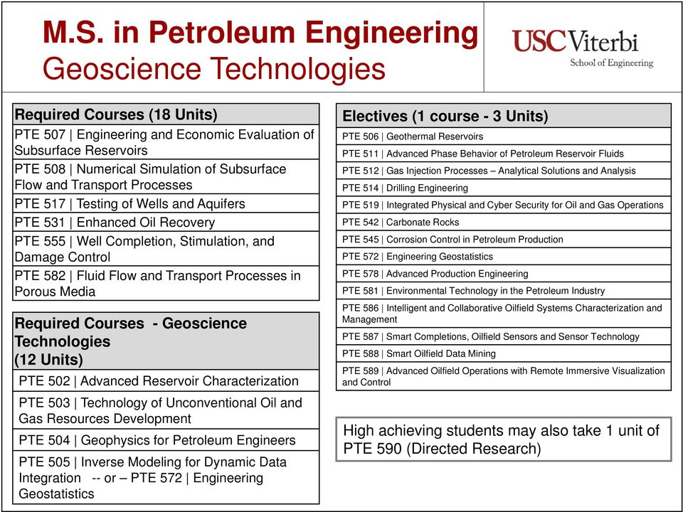 Porous Media Required Courses - Geoscience Technologies (12 Units) PTE 502 Advanced Reservoir Characterization PTE 503 Technology of Unconventional Oil and Gas Resources Development PTE 504