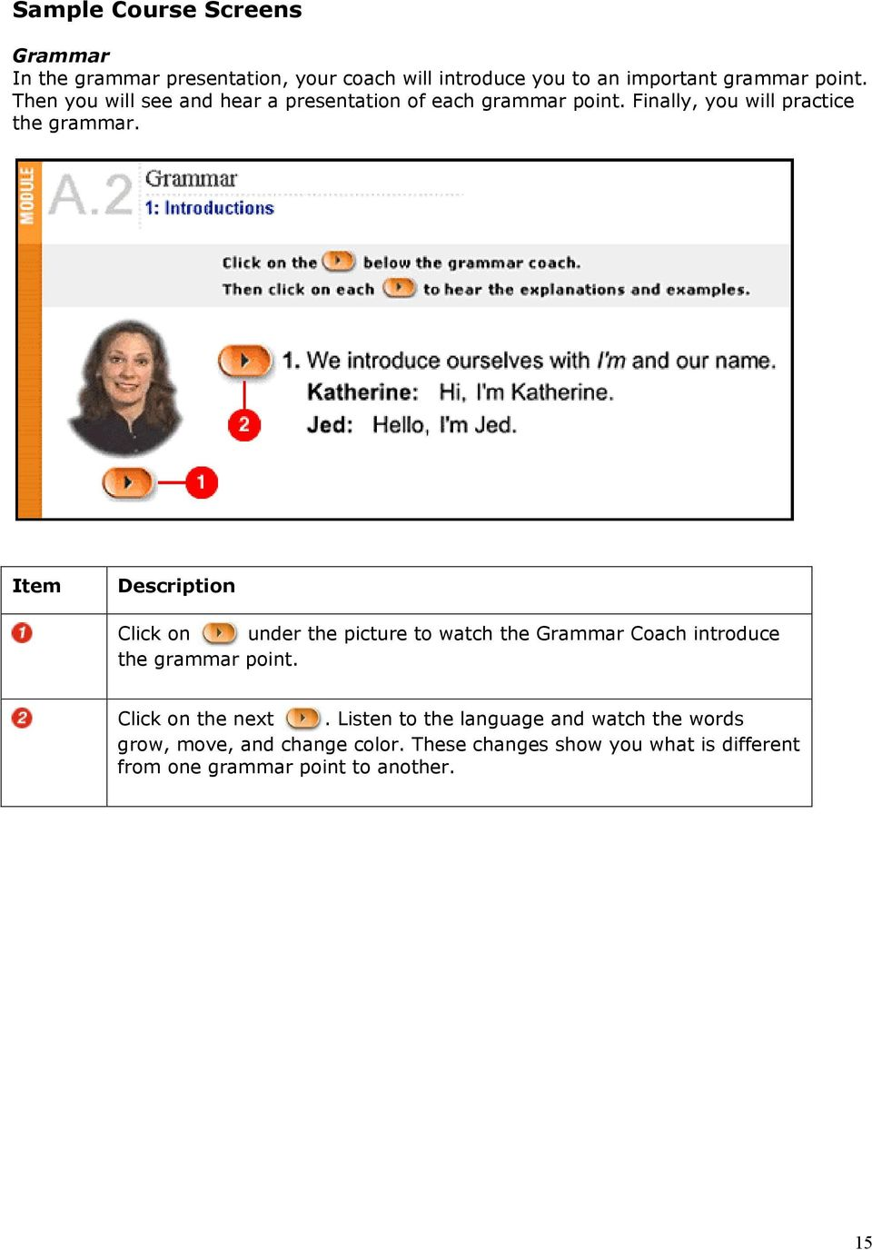 Click on under the picture to watch the Grammar Coach introduce the grammar point. Click on the next.