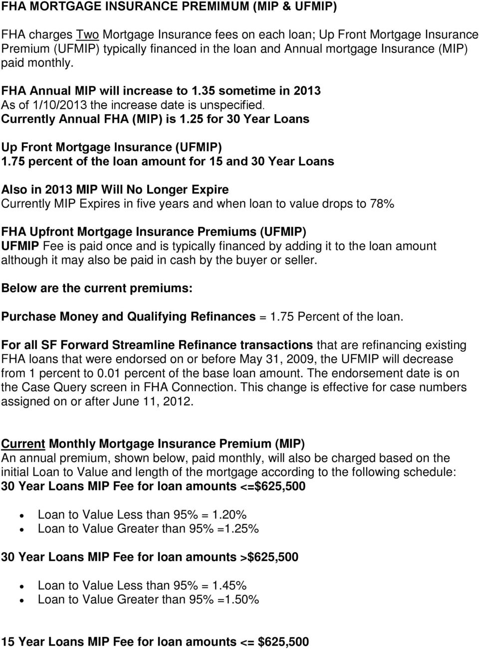 25 for 30 Year Loans Up Front Mortgage Insurance (UFMIP) 1.