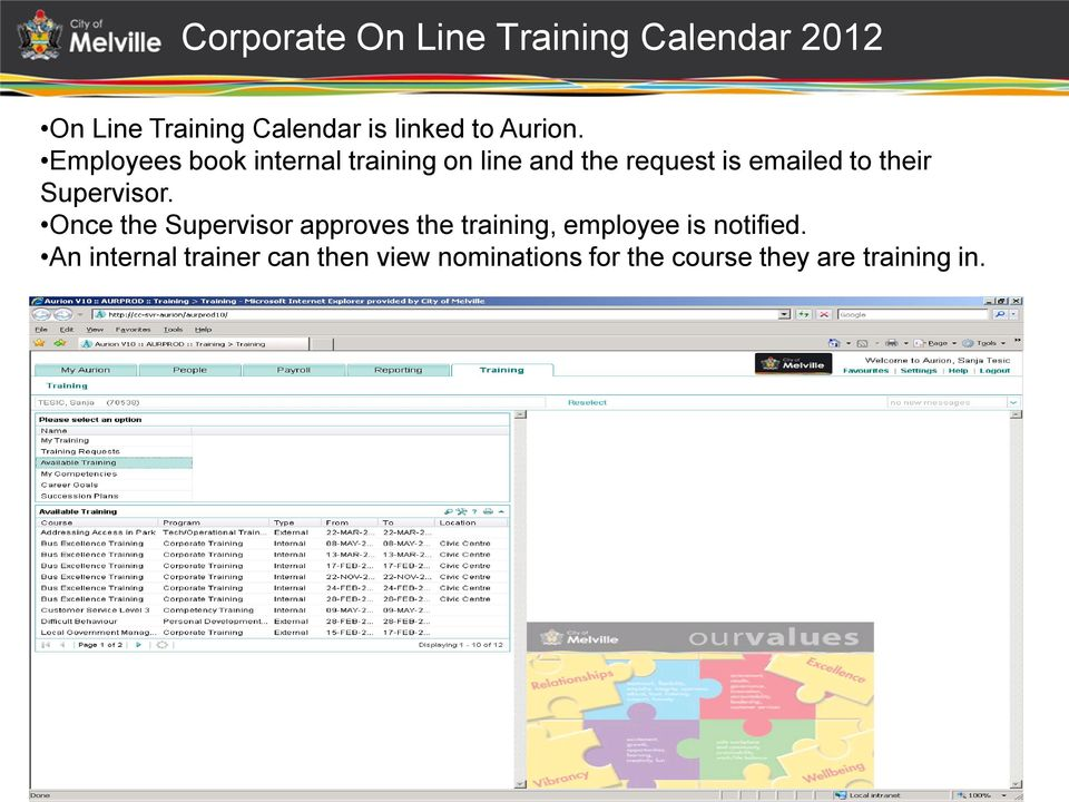 Employees book internal training on line and the request is emailed to their