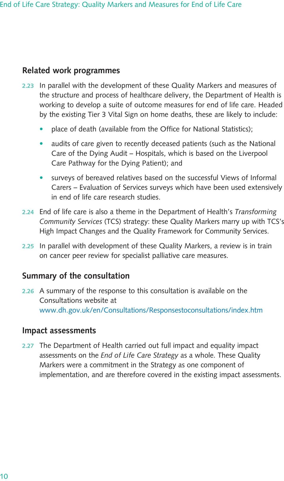 measures for end of life care.