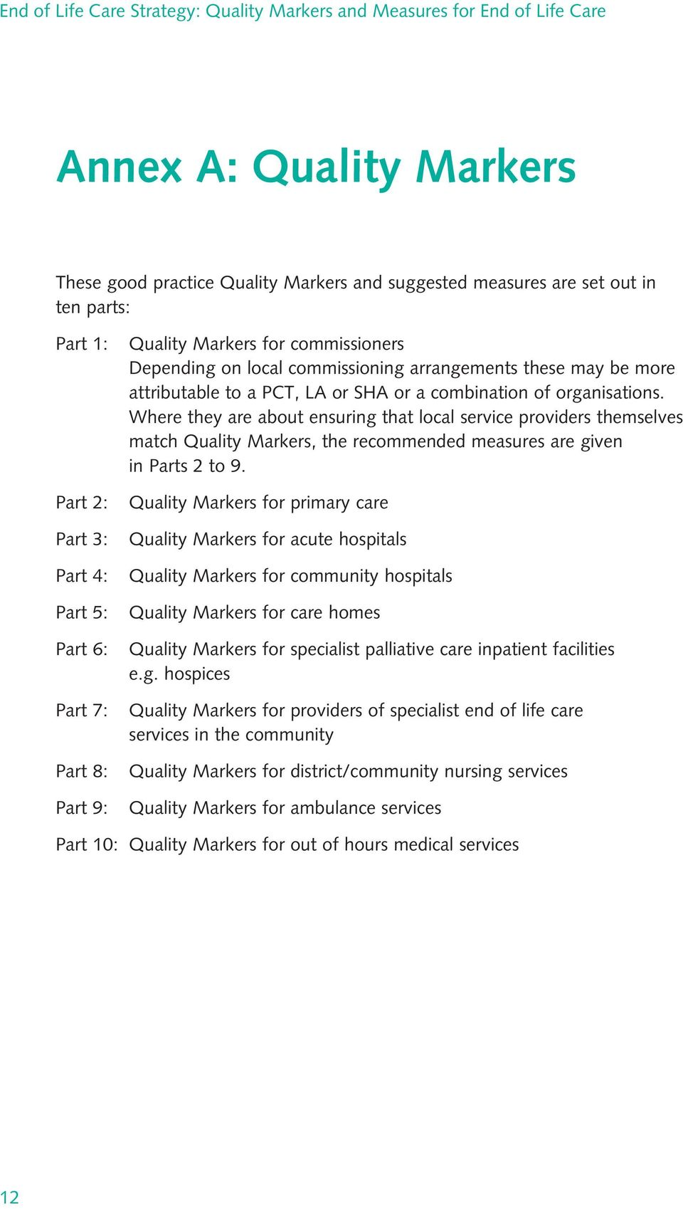 Where they are about ensuring that local service providers themselves match Quality Markers, the recommended measures are given in Parts 2 to 9.