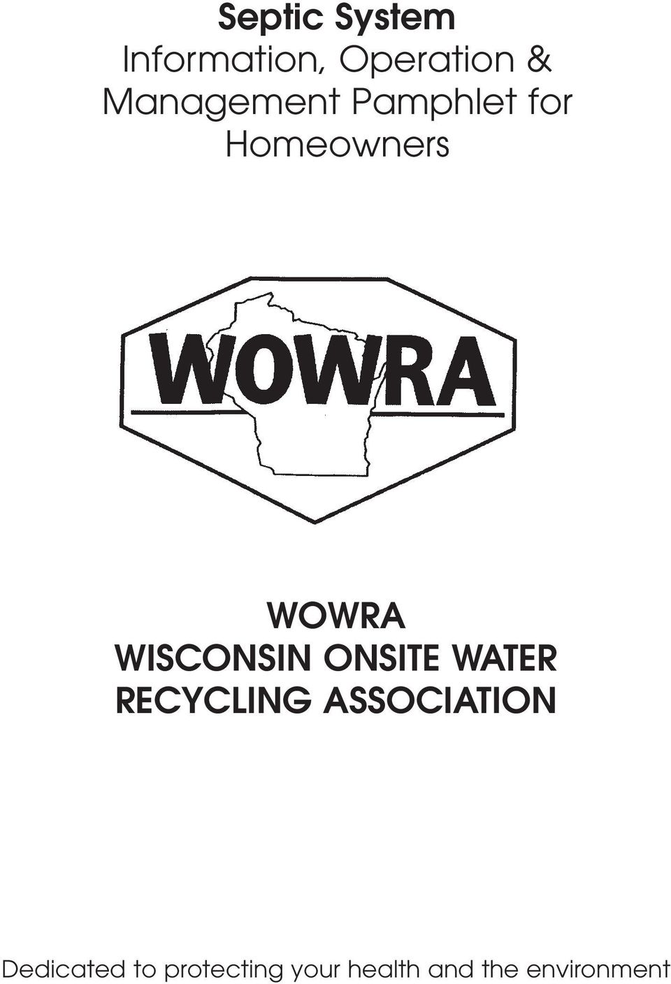 WISCONSIN ONSITE WATER RECYCLING ASSOCIATION