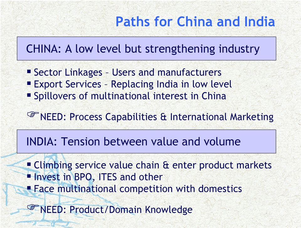 Capabilities & International Marketing INDIA: Tension between value and volume Climbing service value chain &