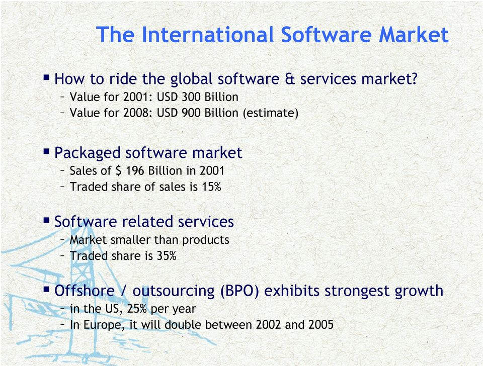 196 Billion in 2001 Traded share of sales is 15% Software related services Market smaller than products Traded