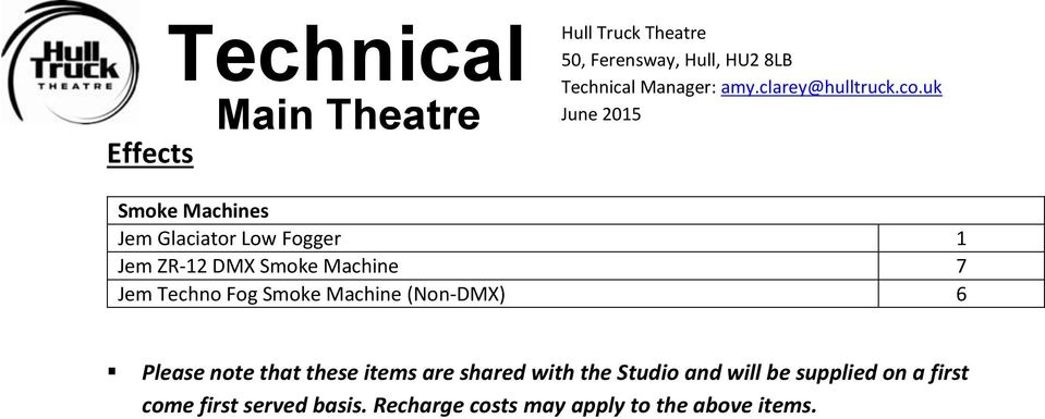 note that these items are shared with the Studio and will be supplied