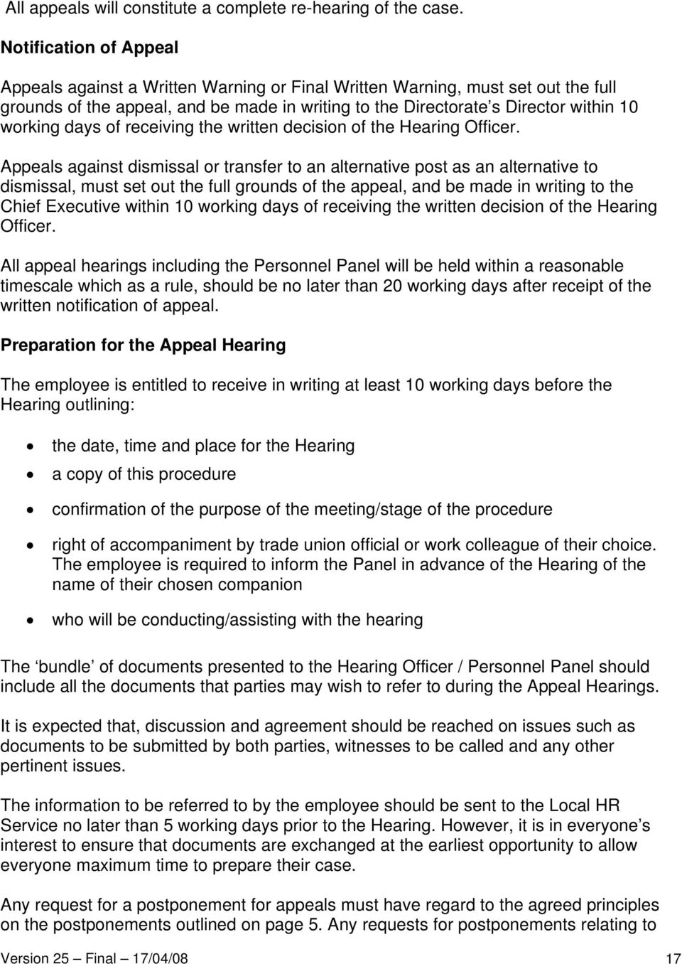 days of receiving the written decision of the Hearing Officer.