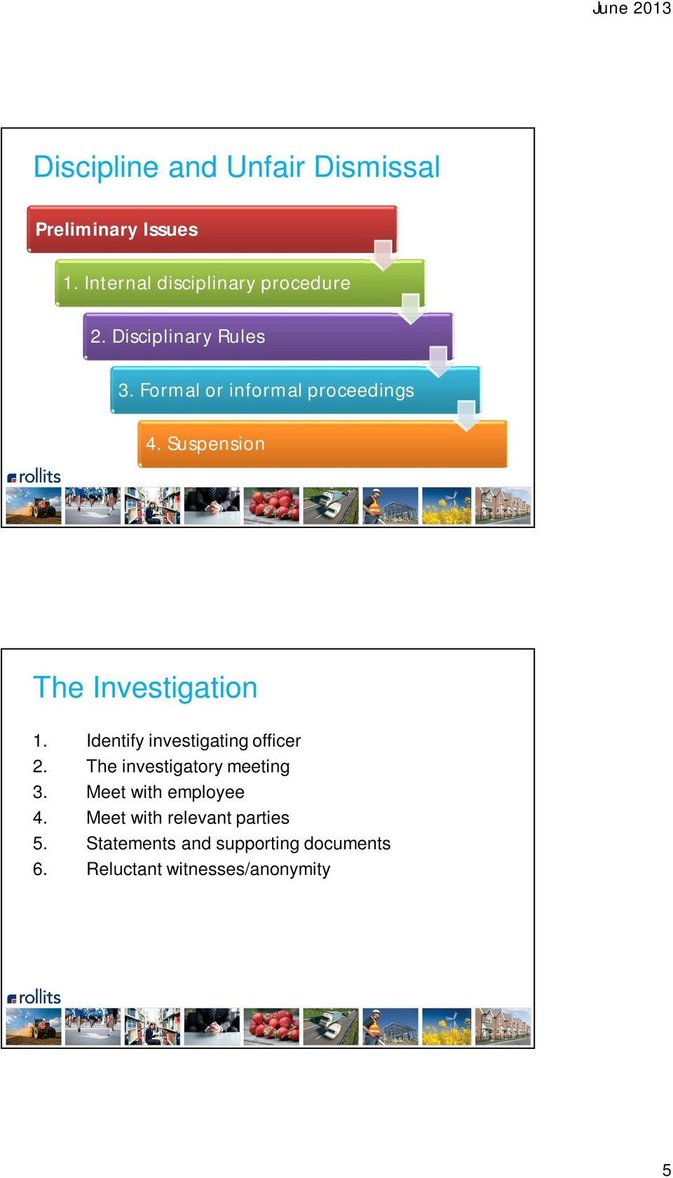 Identify investigating officer 2. The investigatory meeting 3. Meet with employee 4.