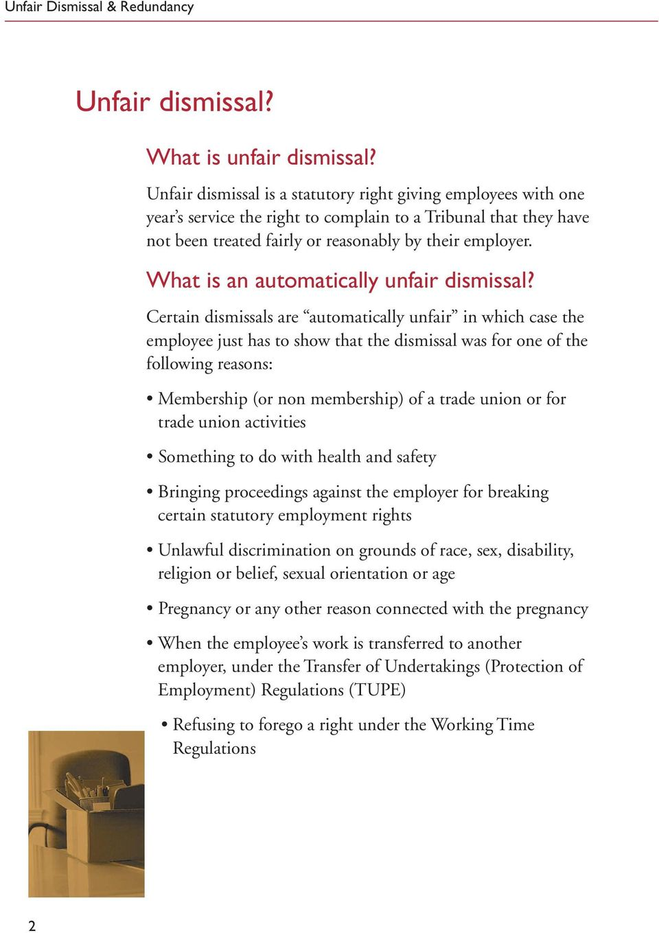 What is an automatically unfair dismissal?
