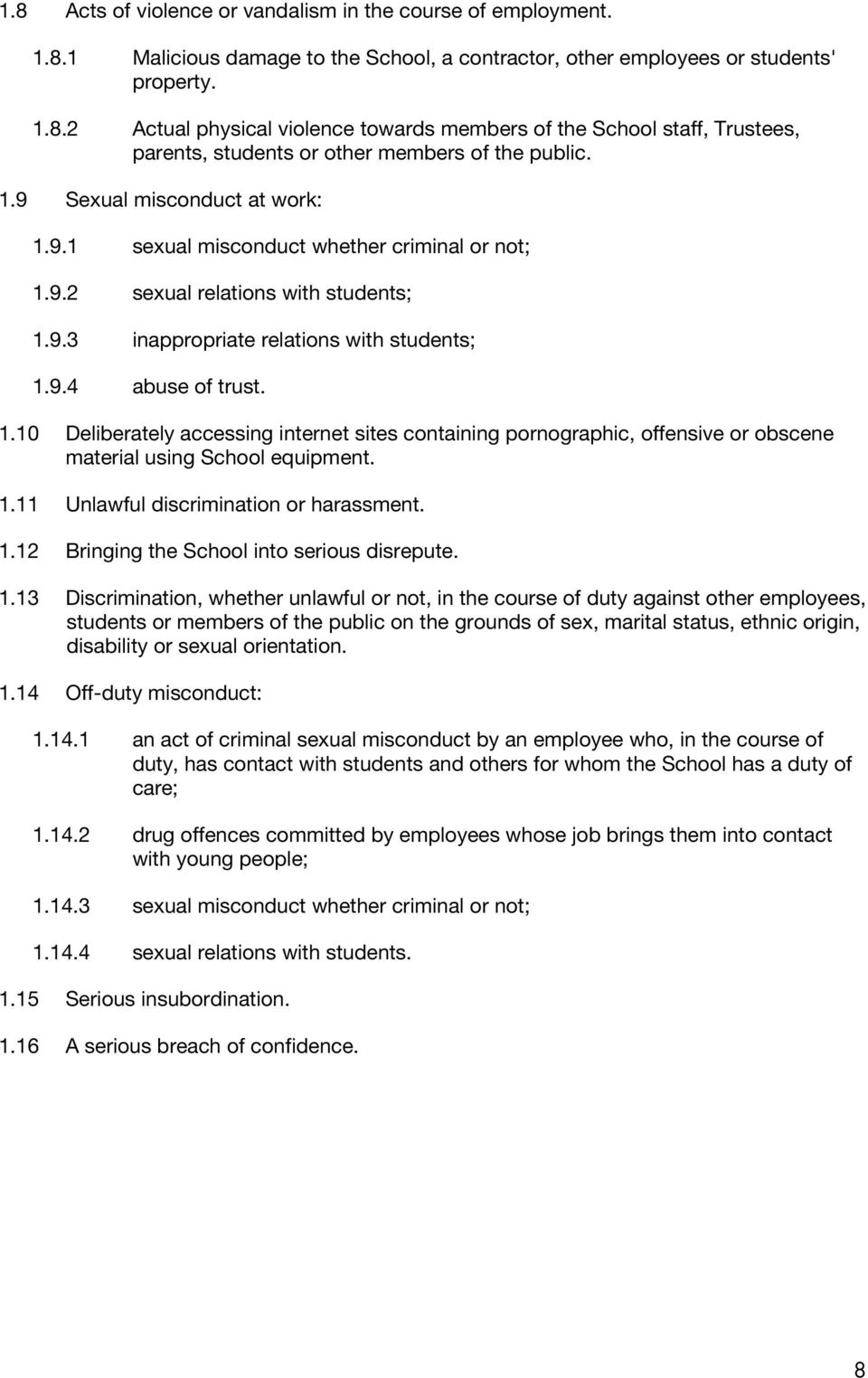1.11 Unlawful discrimination or harassment. 1.