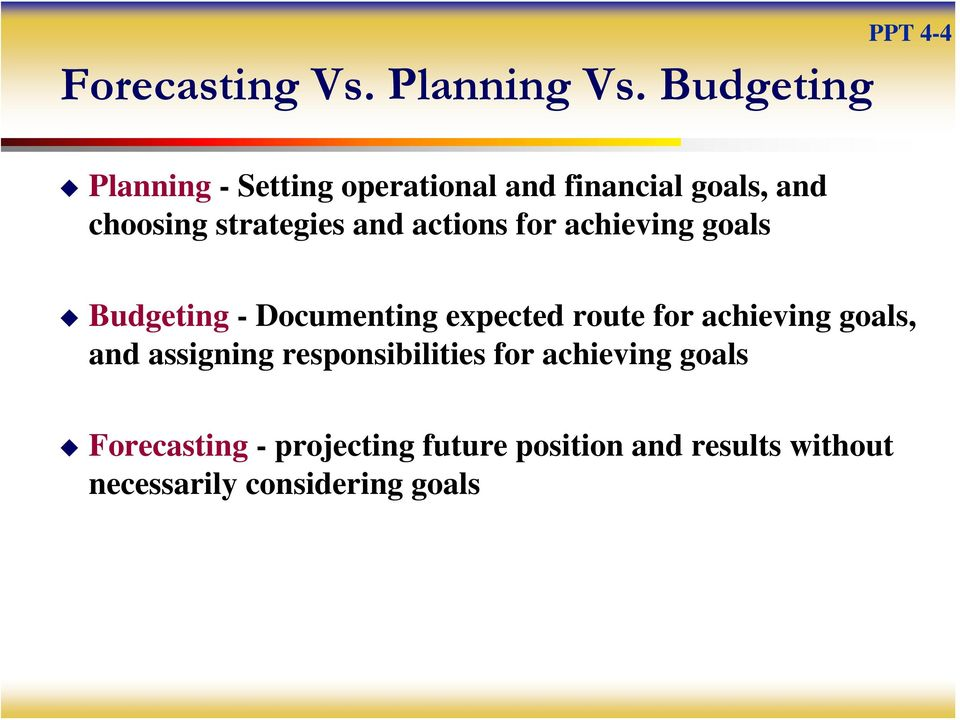 strategies and actions for achieving goals Budgeting - Documenting expected route for
