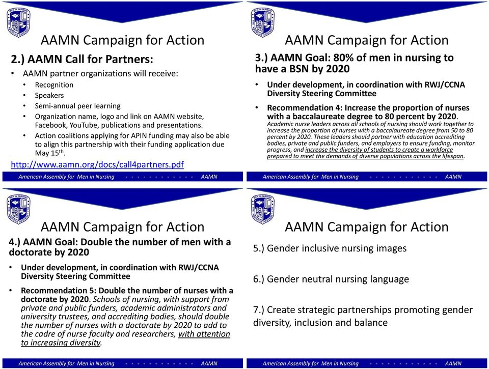 presentations. Action coalitions applying for APIN funding may also be able to align this partnership with their funding application due May 15 th. http://www.aamn.org/docs/call4partners.