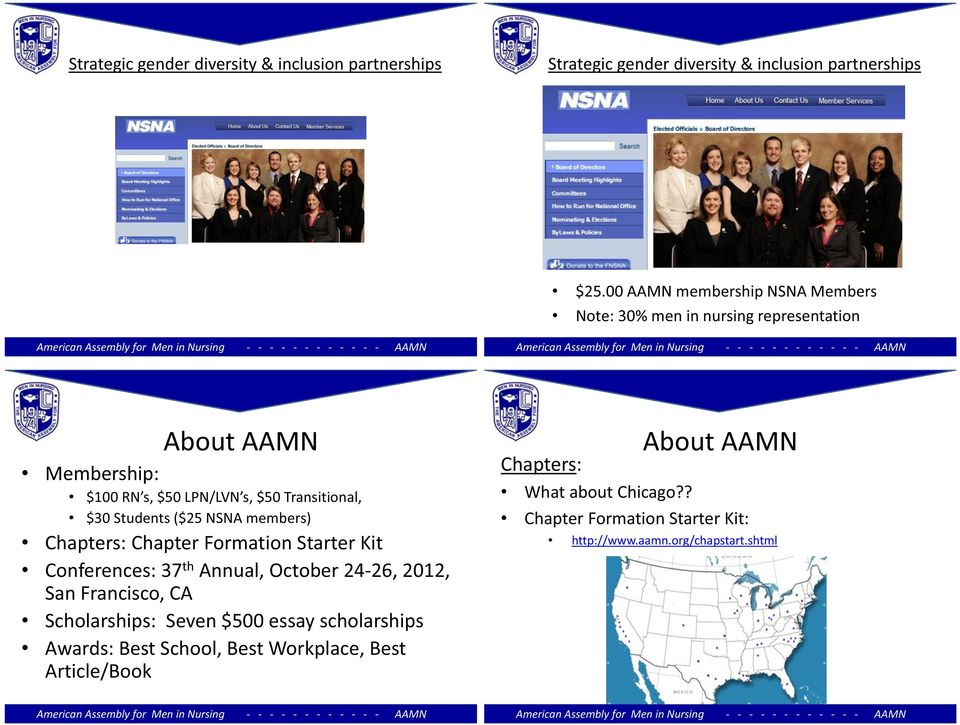 Students ($25 NSNA members) Chapters: Chapter Formation Starter Kit Conferences: 37 th Annual, October 24-26, 2012, San Francisco, CA Scholarships: