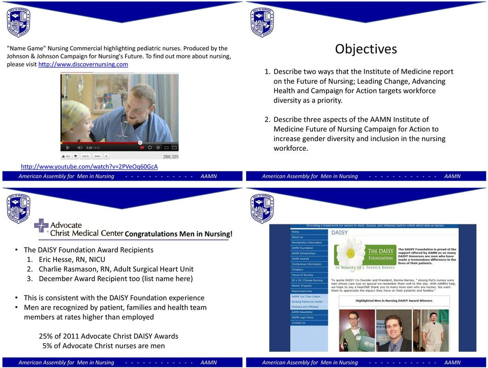 2. Describe three aspects of the AAMN Institute of Medicine Future of Nursing Campaign for Action to increase gender diversity and inclusion in the nursing workforce. http://www.youtube.com/watch?