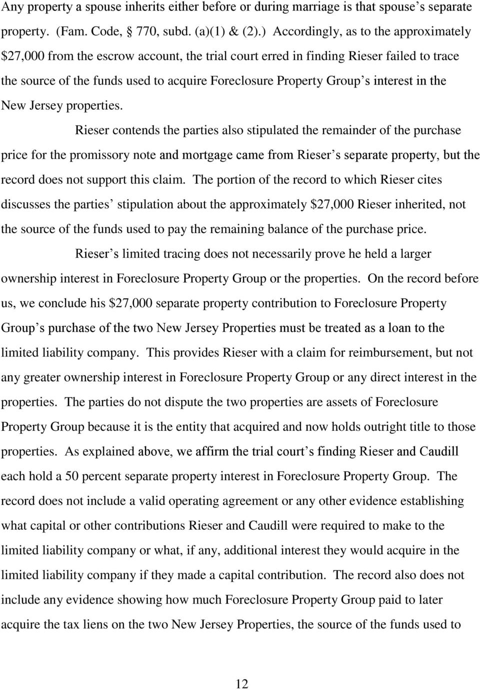interest in the New Jersey properties.