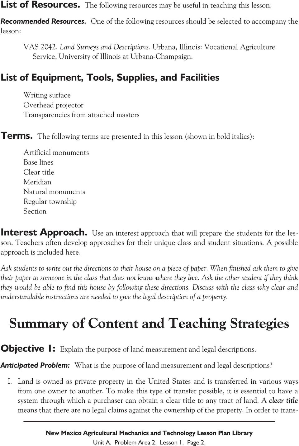 List of Equipment, Tools, Supplies, and Facilities Writing surface Overhead projector Transparencies from attached masters Terms.