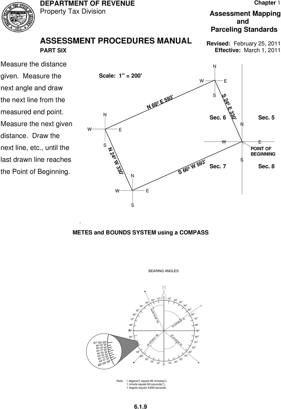 "8 W E S METES BOUNDS SYSTEM using a COMPASS BEARING ANGLES 40º 50º 60º 70º 80º 90º 10º 20º 30º (N 26º16'39"" W) 10º 20º 30º 40º (N 55º59'44"" E) 50º 60º 70º 80º 90º 61º 00' 00"" 60º 52' 30"" 60º 45' 00"""
