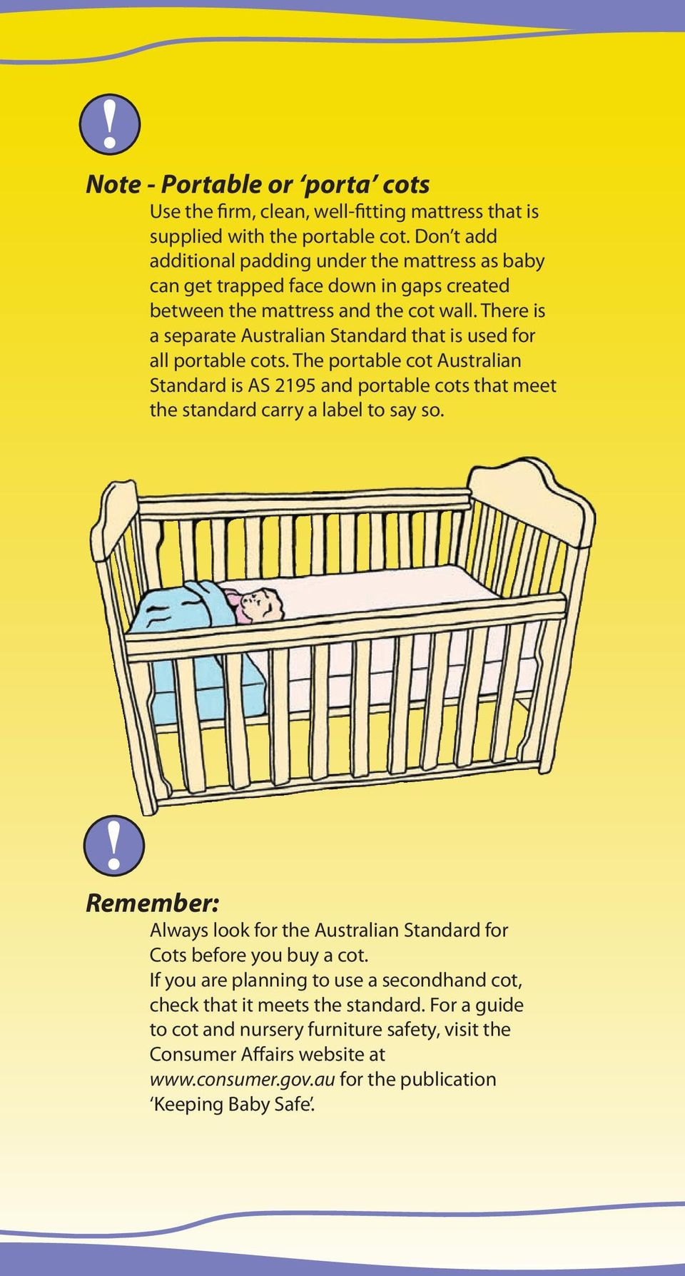 There is a separate Australian Standard that is used for all portable cots.