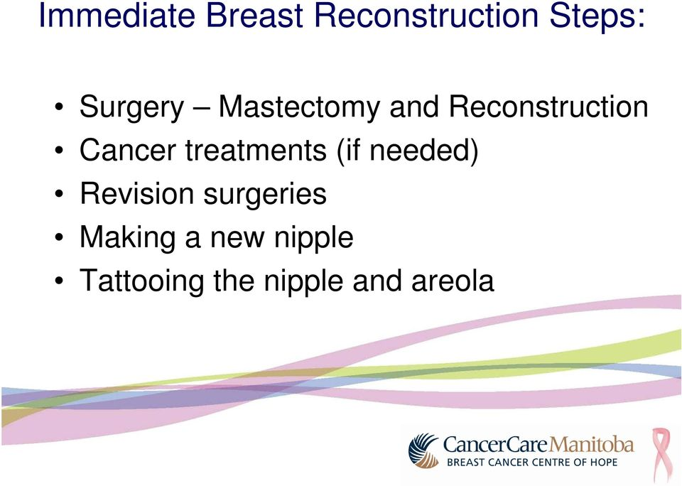 treatments (if needed) Revision surgeries