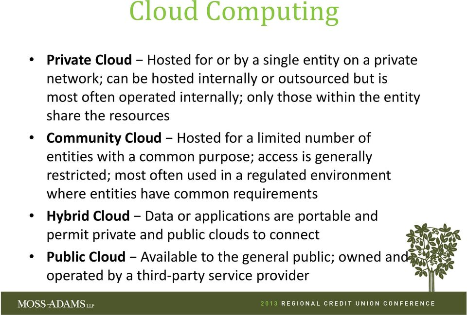 generally restricted; most often used in a regulated environment where entities have common requirements Hybrid Cloud Data or applica ons are