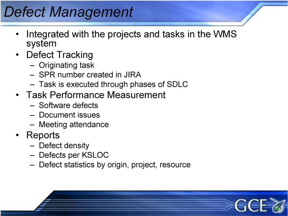 of SDLC Task Performance Measurement Software defects Document issues Meeting