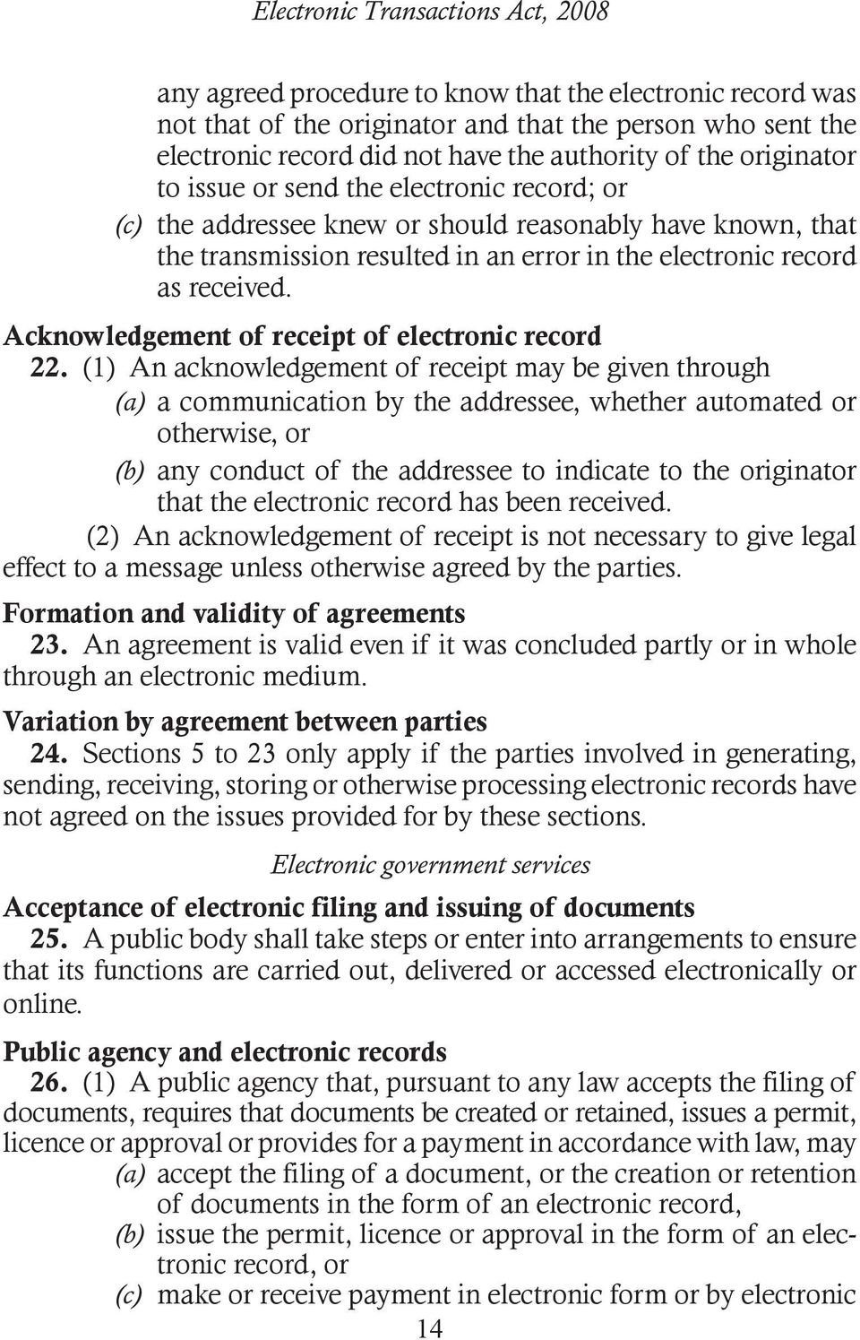 Acknowledgement of receipt of electronic record 22.