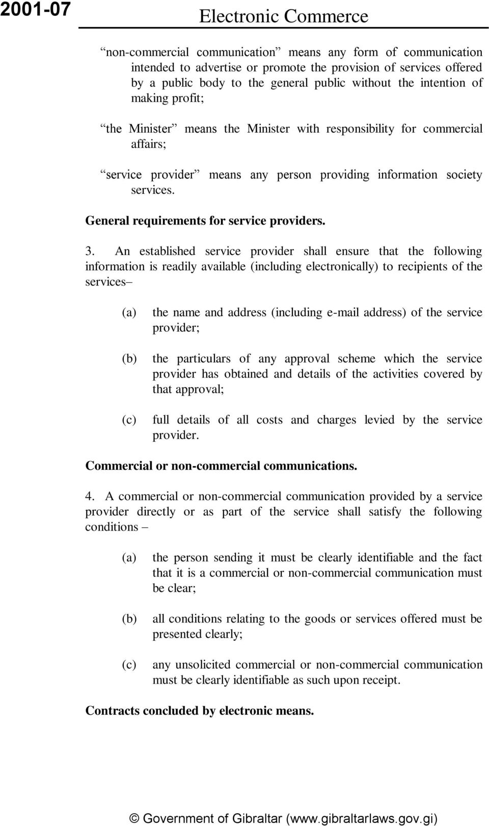 General requirements for service providers. 3.