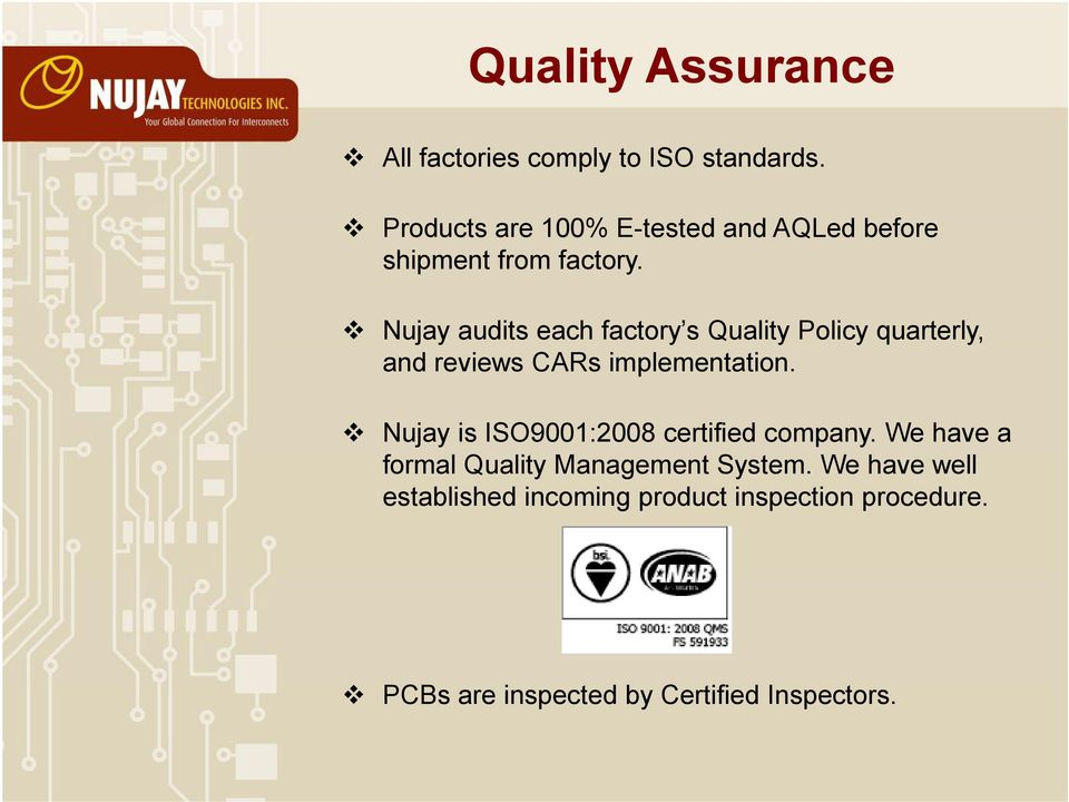 Nujay audits each factory s Quality Policy quarterly, and reviews CARs implementation.
