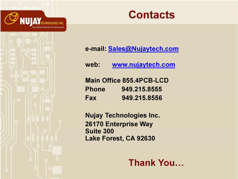 215.8555 Fax 949.215.8556 Nujay Technologies Inc.