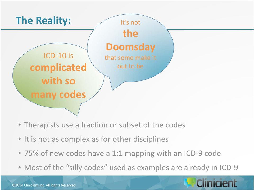 It is not as complex as for other disciplines 75% of new codes have a 1:1