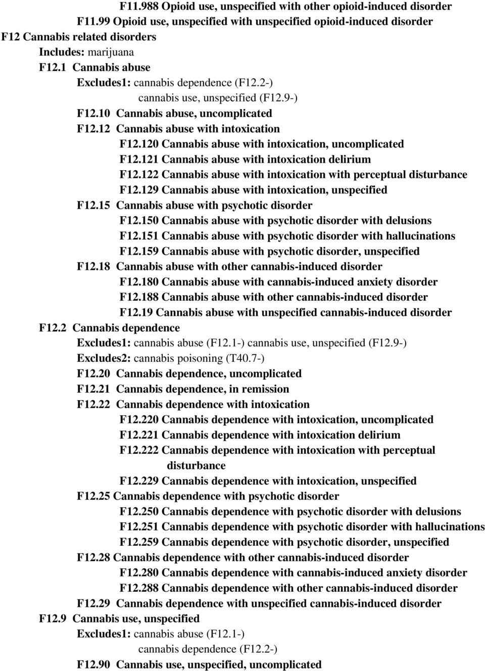 120 Cannabis abuse with intoxication, uncomplicated F12.121 Cannabis abuse with intoxication delirium F12.122 Cannabis abuse with intoxication with perceptual disturbance F12.
