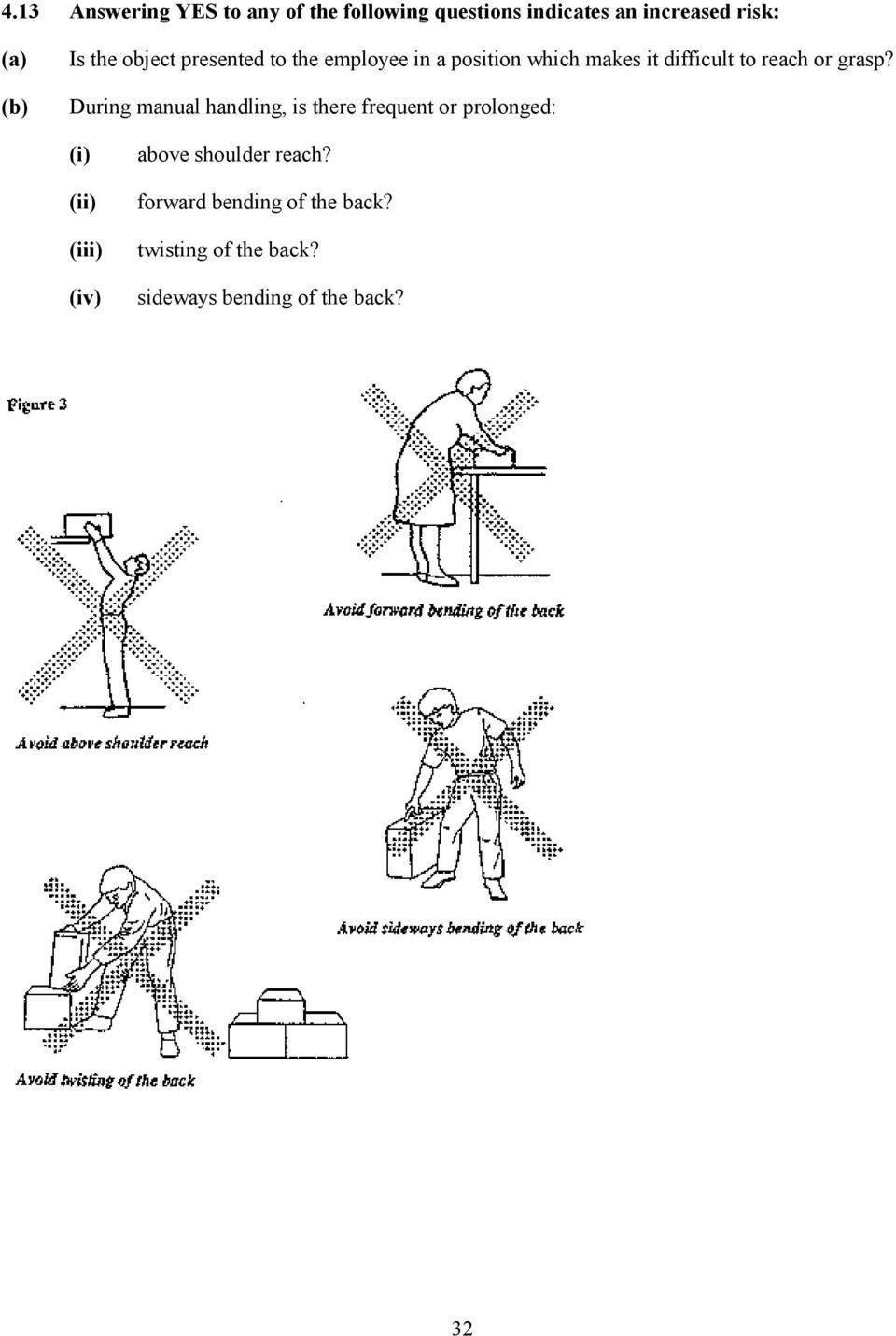During manual handling, is there frequent or prolonged: (i) (ii) (iii) (iv) above shoulder