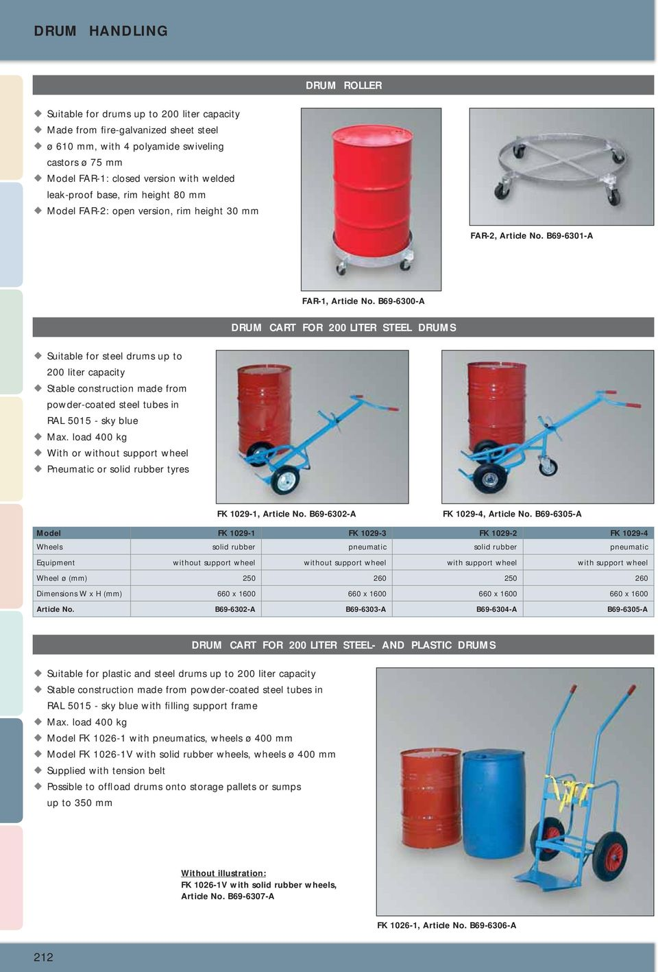 B69-6300-A DRUM CART FOR 200 LITER STEEL DRUMS Suitable for steel drums up to 200 liter capacity Stable construction made from powder-coated steel tubes in RAL 5015 - sky blue With or without support