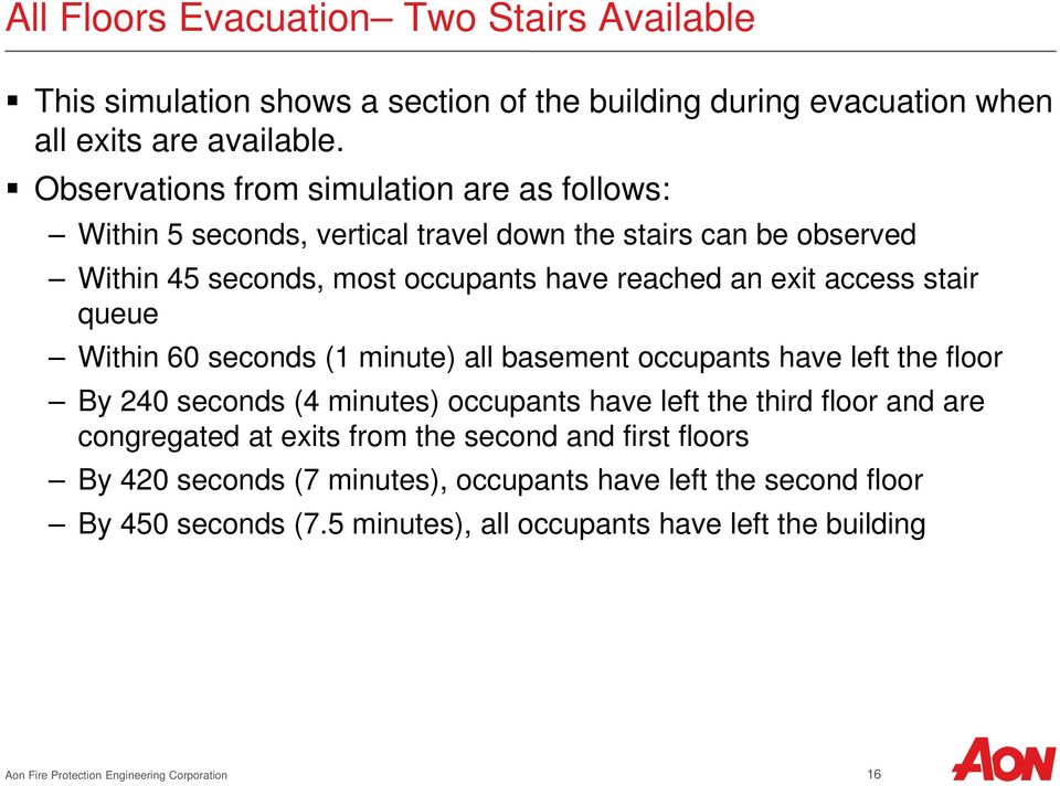 stair queue Within 60 seconds (1 minute) all basement occupants have left the floor By 240 seconds (4 minutes) occupants have left the third floor and are congregated at