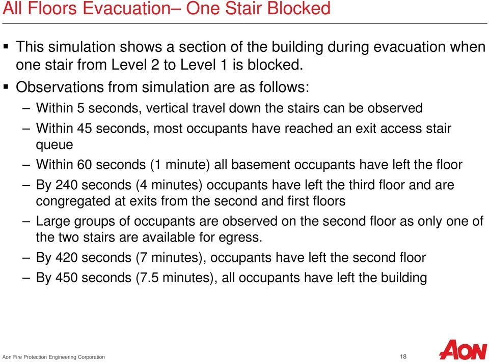 seconds (1 minute) all basement occupants have left the floor By 240 seconds (4 minutes) occupants have left the third floor and are congregated at exits from the second and first floors Large groups