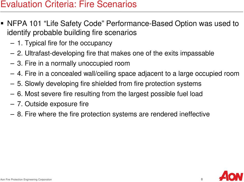 Fire in a concealed wall/ceiling space adjacent to a large occupied room 5. Slowly developing fire shielded from fire protection systems 6.
