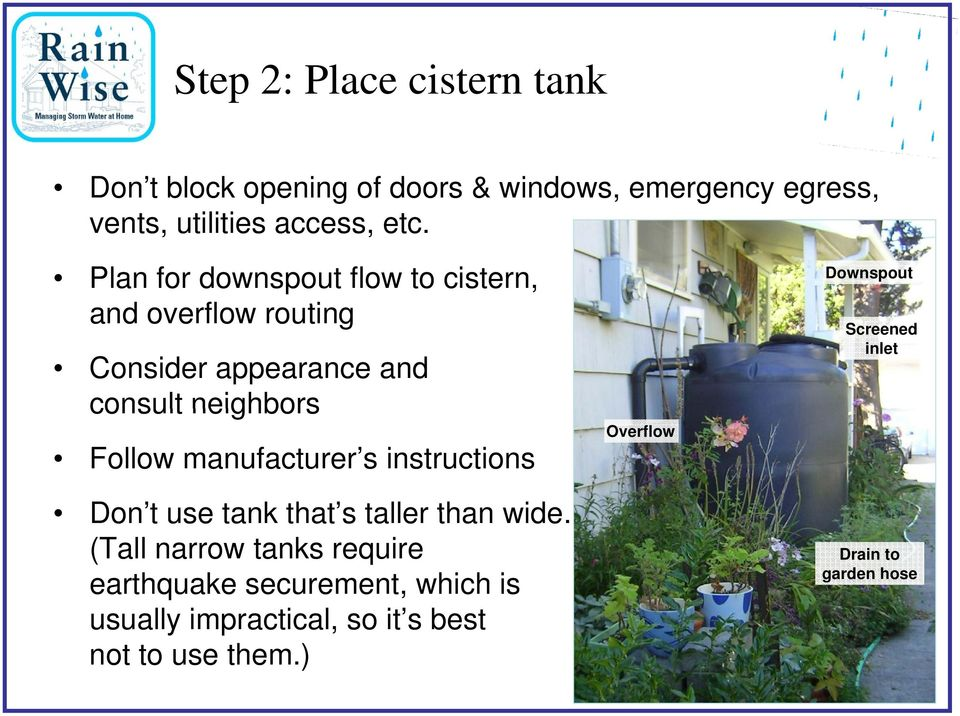 instructions Don t use tank that s taller than wide.