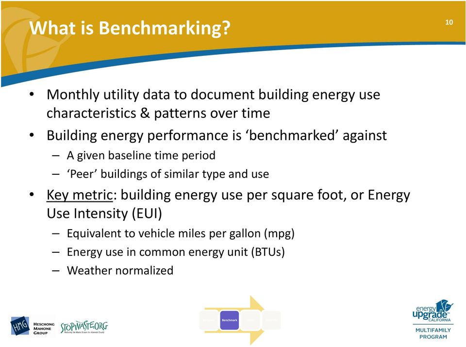 performance is benchmarked against A given baseline time period Peer buildings of similar type and use Key