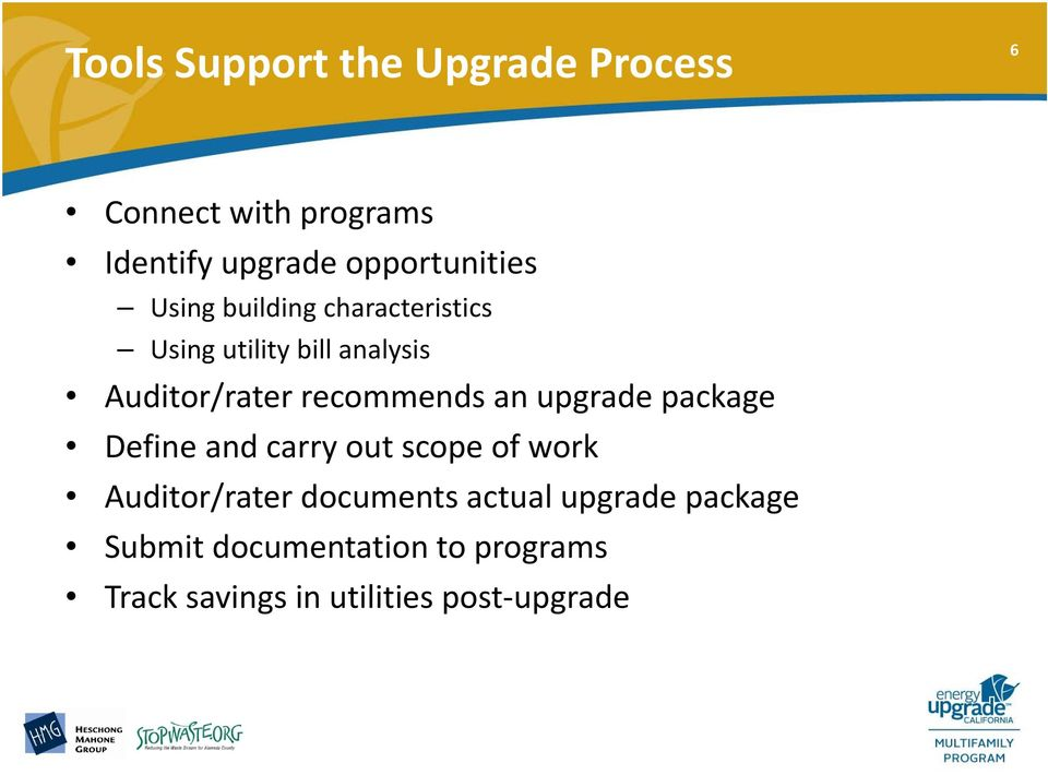 recommends an upgrade package Define and carry out scope of work Auditor/rater