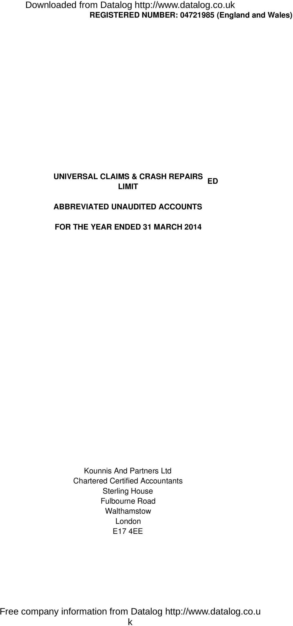 REPAIRS LIMIT ED ABBREVIATED UNAUDITED ACCOUNTS FOR THE YEAR ENDED 31 MARCH