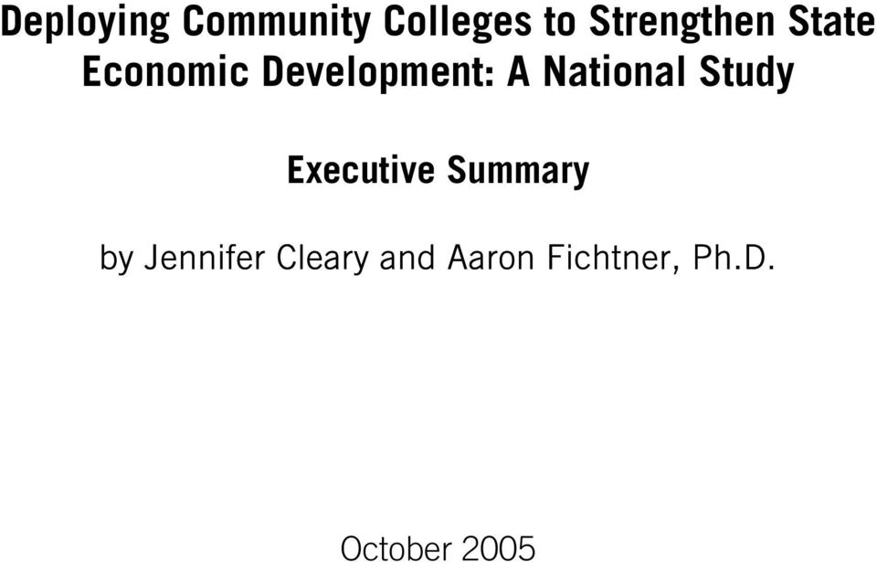 National Study Executive Summary by