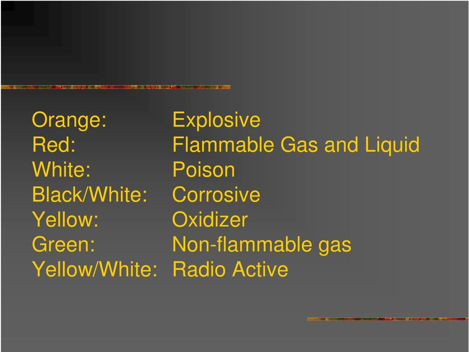 Corrosive Yellow: Oxidizer Green: