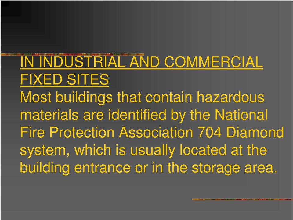 Fire Protection Association 704 Diamond system, which is